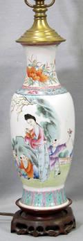 012336 ANTIQUE CHINESE PORCELAIN BASE TABLE LAMP CIRCA