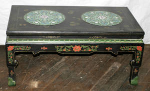012315 CHINESE BLACK LACQUER COFFEE TABLE INSET WITH C