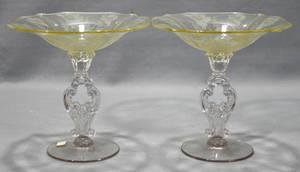 2452 AMERICAN FOSTORIA GLASS COMPOTES GLORIA PATTERN