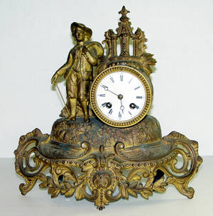 2429 SPELTER FIGURAL MANTLE CLOCK C 1920
