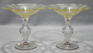 012350 AMERICAN FOSTORIA GLASS COMPOTES GLORIA PATTER