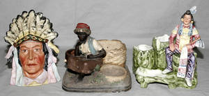 011536 GERMAN BISQUE  POTTERY FIGURAL TOBACCO JAR AND