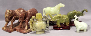 010416 ORIENTAL CARVED HARDSTONE HORSES ELEPHANTS  A