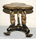 122386 CARVED EBONY SIDE TABLE WITH GILT DECORATION C