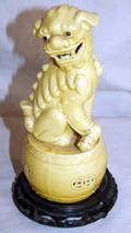 120399 CHINESE GLAZED YELLOW POTTERY FOO DOG WSTAND