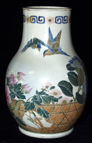 2493 CHINESE PORCELAIN VASE WITH HAND PAINTED ROSE AND