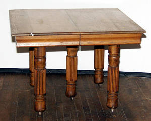 0475 MISSION OAK CARVED SQUARE DINING TABLE C 1880