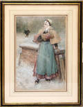 22117 GEORGE HENRY BOUGHTON GOUACHE ON PAPER WOMAN