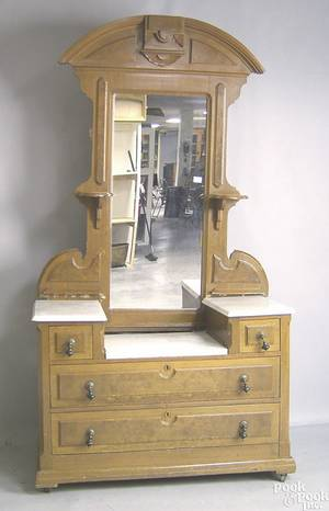 Victorian walnut dresser and mirror