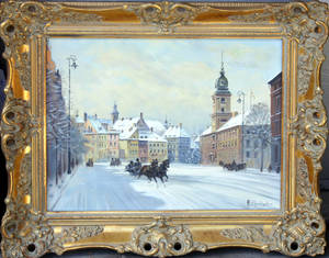 22132 POLISH OIL ON CANVAS WINTER STREET SCENE WITH T