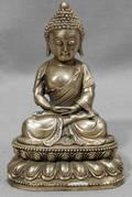 22432 ORIENTAL SILVER BUDDHA SEATED ON A LOTUS LEAF BA