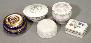 021581 GERMAN  FRENCH LIMOGES PORCELAIN BOXES FIVE
