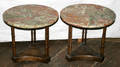 122431 BAMBOO STYLE WALNUT SIDE TABLES C 1960 PAIR
