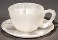 121569 AGATE CARVED STONE CUP AND SAUCER H 2 14 DI