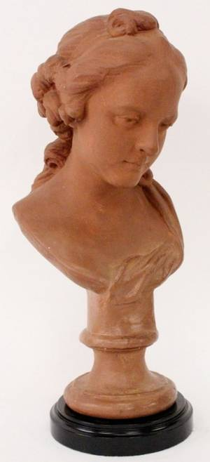 Patinated Sculptural Bust of Young Woman