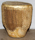 113361 AFRICAN HIDE AND REED DRUM H 14 DIA 10 12