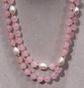 2547 ROSE QUARTZ PEARL AND GOLD BEAD NECKLACE L 30