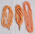 2539 CORAL WATCH CHAIN L 25  TWO CORAL BEAD NECKLA