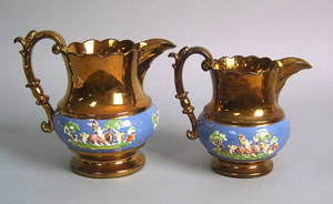 Six pcs of copper luster to include 2 large pitchers