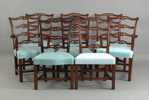Set of 6 Philadelphia Chippendale mahogany ribbonback dining chairs late 18th c