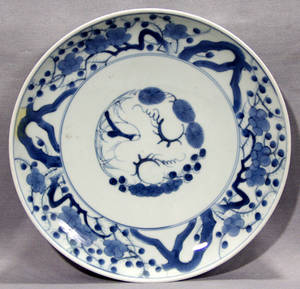113416 JAPANESE BLUE  WHITE PORCELAIN CHARGER 19TH C
