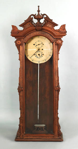 Massachusetts walnut regulator clock late 19th c