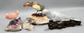0566 CHINESE HAND CARVED STONE BIRDS LOT OF FOUR L 8