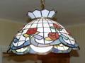 0550 ART GLASS HANGING LAMP BY HUBERT EMRICK 1978 H