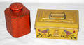 0539 TIN CONTAINERS ONE RED ONE MUSTARD YELLOW 2 L
