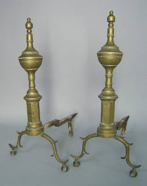 Pair of New York Federal brass andirons ca 1810