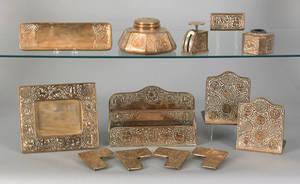 Tiffany Studios bronze zodiac pattern desk set