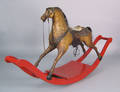Leather covered rocking horse 19th c