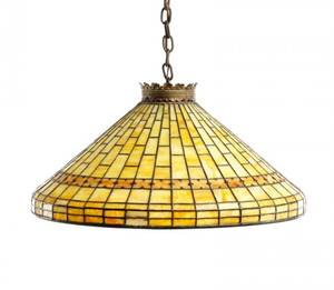 Bigelow Studios Conical Leaded Glass Chandelier