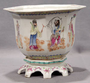 113439 CHINESE PORCELAIN CACHE POT 19TH CENTURY H 7