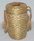 1629 AMERICAN INDIAN WOVEN ASH COVERED BASKET CIRCA 1