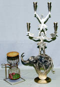 2607 STEEL 4 LIGHT CIRCUS CANDLESTICK H 28 W 14 AL