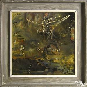 Oil on board in the manner of Salvador Dali