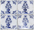 021010 4 DUTCH POTTERY TILES BLUE  WHITE 18TH C
