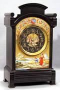 021007 BELGIAN MARBLE  ENAMELDECORATED MANTEL CLOCK