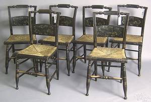 Set of 6 New England painted rush seat chairs