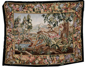 012047 FRENCH WOOL TAPESTRY C 195070 3 7 X 4 7