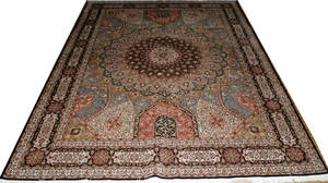 011030 TABRIZ PERSIAN WOOL AND SILK RUG 12 10 X 9