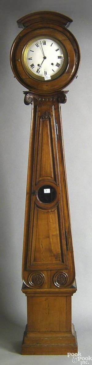 French fruitwood tall case clock