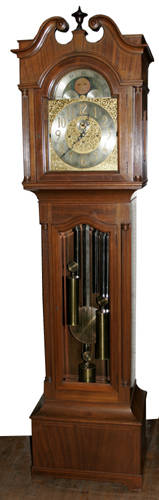 0022 HERSCHEDES MAHOGANY TALL CASE GRANDFATHER CLOCK