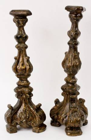 Pair of 18th C Italian Carved Wood Candle Prickets
