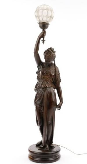 American Spelter Figural Newel Post Torchiere