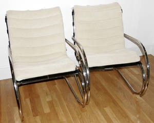 061064 KNOLL CHROME  LEATHER ARMCHAIRS