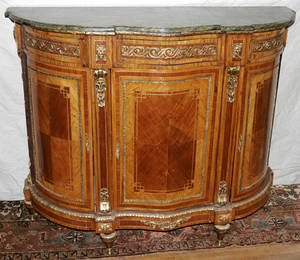081076 LOUIS XVI STYLE WALNUT  MARBLE TOP COMMODE