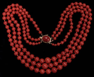 041066 RED CORAL BEAD NECKLACE