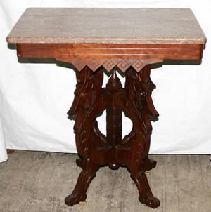 031107 VICTORIAN EASTLAKE WALNUT  ROUGE MARBLE TABLE